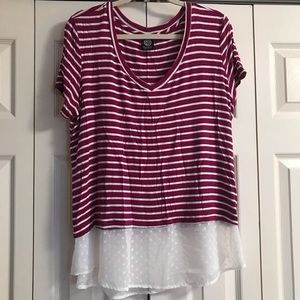 Bobeau Burgundy and White Striped Tee Shirt